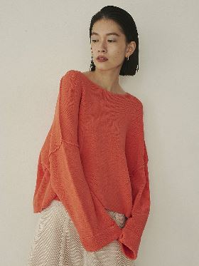 DOUBLE BELL SLEEVE KNIT TOP A0MK20008L27 トランペットスリーブ/コルネットスリーブ